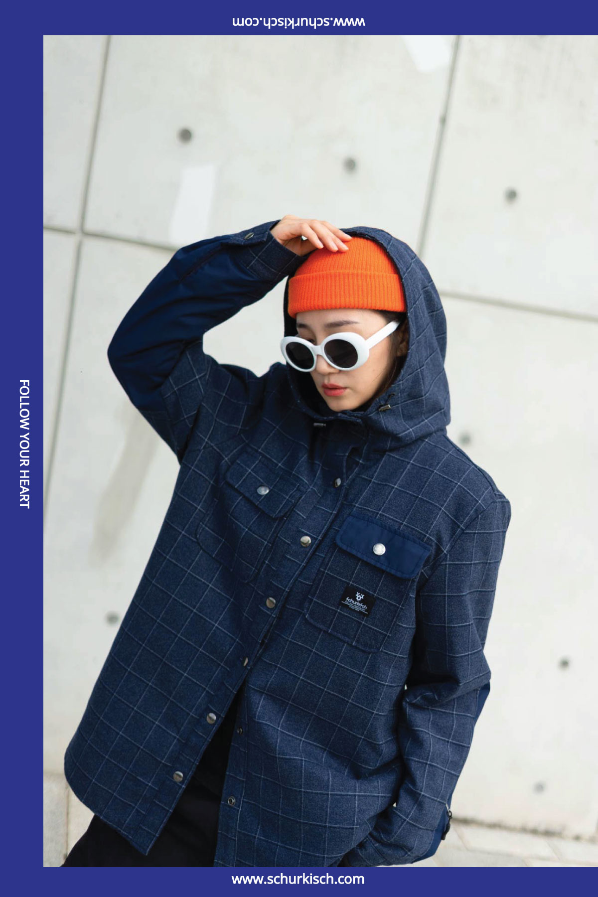 SCHUK Checked Shirt Jacket Navy
